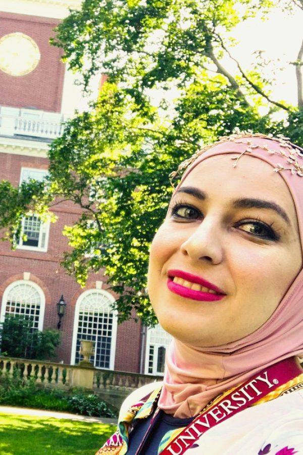 Rawan Alhawamdeh on Harvard University campus